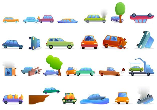 Conjunto de iconos de accidentes automovilísticos, estilo de dibujos animados