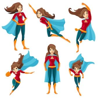 Conjunto de iconos de acciones de superwoman