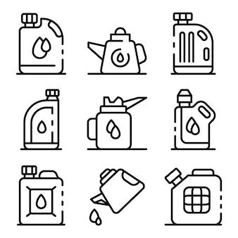 Conjunto de iconos de aceite de motor, estilo de contorno