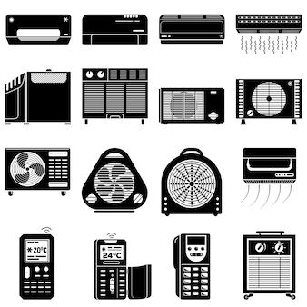 Conjunto de iconos de acondicionador, estilo simple.