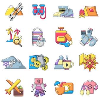 Conjunto de iconos de actividades recreativas, estilo de dibujos animados
