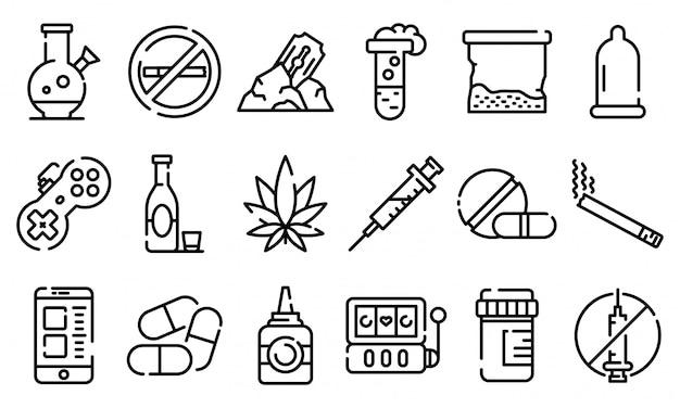 Conjunto de iconos de adicción, estilo de contorno