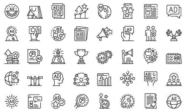 Conjunto de iconos de administrador de publicidad, estilo de contorno