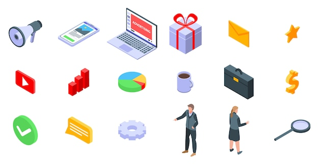Conjunto de iconos de administrador de publicidad, estilo isométrico