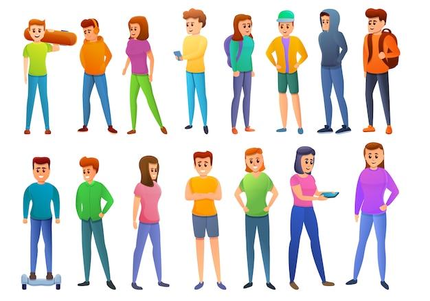 Conjunto de iconos adolescentes, estilo de dibujos animados