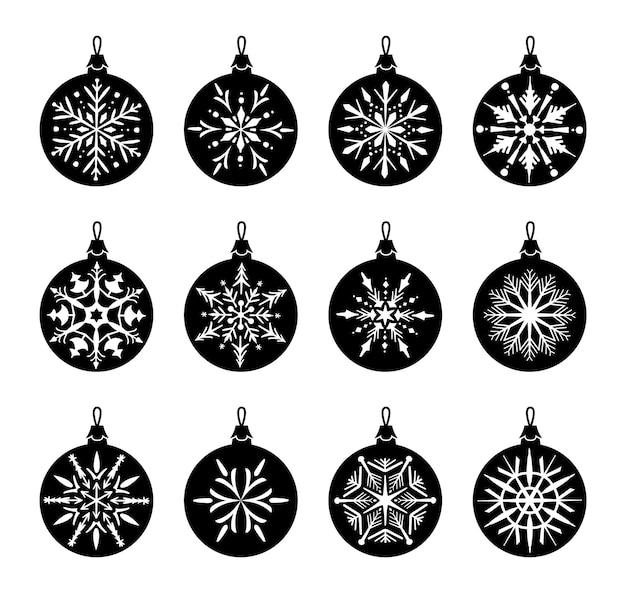 Conjunto de iconos de adornos navideños. ilustración de vector de blanco y negro.