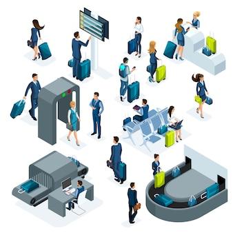 Conjunto de iconos de aeropuerto de recepción y mostrador de verificación de pasaportes, sala de espera, área de tránsito, los pasajeros esperan el embarque, viaje de negocios aislado