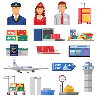 Conjunto de iconos de aeropuerto