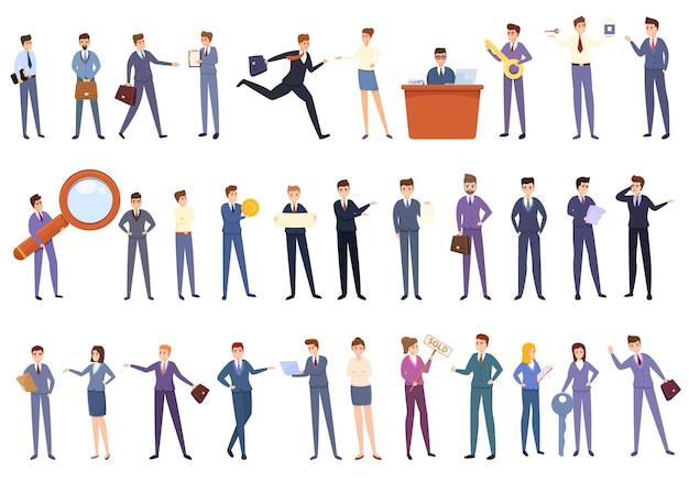 Conjunto de iconos de agente. conjunto de dibujos animados de iconos de agente para diseño web