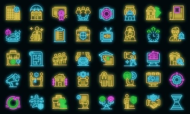 Conjunto de iconos de agente de publicidad. conjunto de esquema de color de neón de los iconos de vector de agente de publicidad en negro