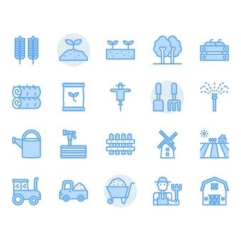Conjunto de iconos de agricultura y agricultura
