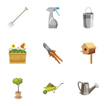 Conjunto de iconos de agricultura, estilo de dibujos animados