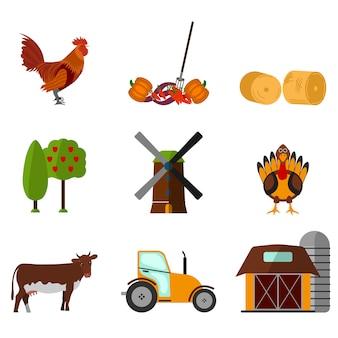 Conjunto de iconos de agricultura plana de dibujos animados