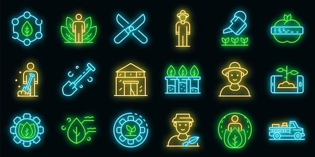 Conjunto de iconos de agrónomo. esquema conjunto de color neón de los iconos vectoriales agrónomo en negro