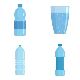 Conjunto de iconos de agua mineral
