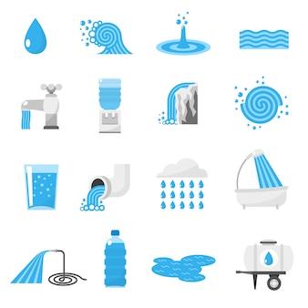 Conjunto de iconos de agua
