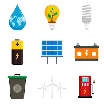Conjunto de iconos de ahorro de energía
