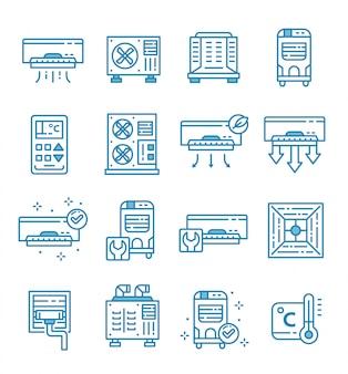 Conjunto de iconos de aire acondicionado con estilo de contorno