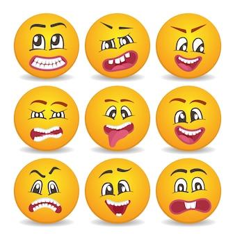 Conjunto de iconos aislados de caras sonrientes divertidas