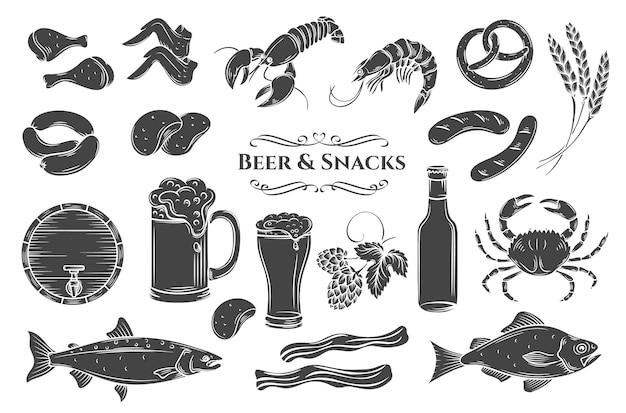 Conjunto de iconos aislados de cerveza y aperitivo. ilustración en negro sobre blanco para etiqueta de tienda de pub