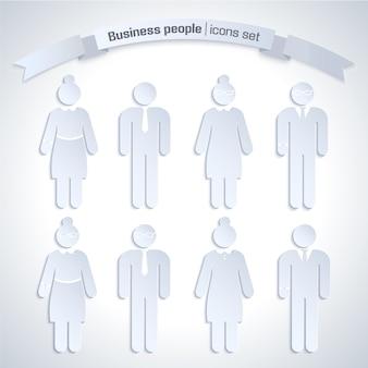 Conjunto de iconos aislados de gente de negocios de color gris con figuras de hombre y mujer en el trabajo