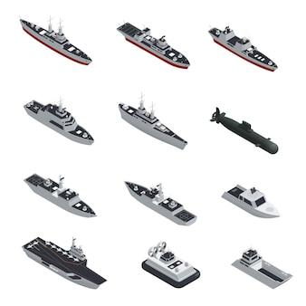 Conjunto de iconos aislados isométricos de barcos militares de color oscuro