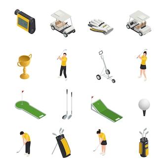 Conjunto de iconos aislados isométricos de colores de golf de accesorios y equipos para golfistas
