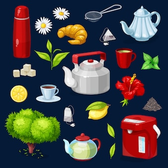 Conjunto de iconos aislados de objetos de té. tetera, taza