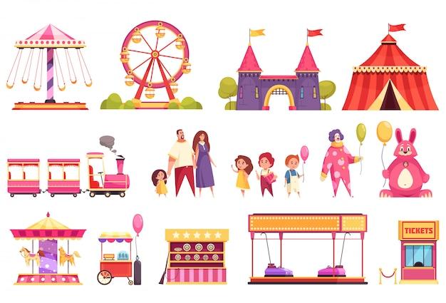 Conjunto de iconos aislados de parque de atracciones de carrusel de tren de autódromo atracciones del castillo medieval carpa de circo y visitantes ilustración de dibujos animados