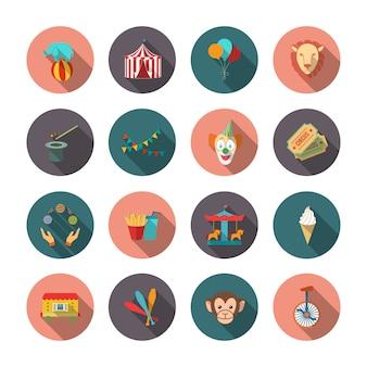 Conjunto de iconos aislados planos payaso león de circo mono con largas sombras en círculos