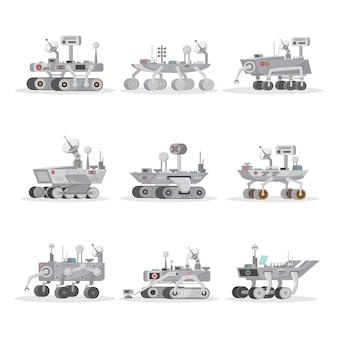 Conjunto de iconos aislados de rovers de marte