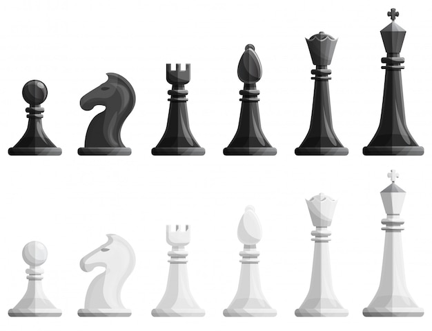 Conjunto de iconos de ajedrez, estilo de dibujos animados.