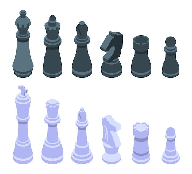 Conjunto de iconos de ajedrez, estilo isométrico