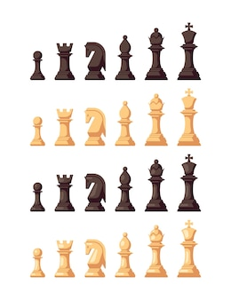 Conjunto de iconos de ajedrez de estilo plano aislado en blanco. figuras de ajedrez