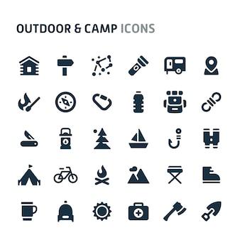 Conjunto de iconos al aire libre y campamento. fillio black icon series.