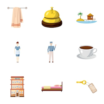 Conjunto de iconos de albergue, estilo de dibujos animados