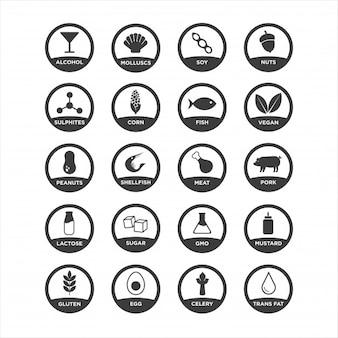 Conjunto de iconos de alérgenos. en blanco y negro. ilustración vectorial