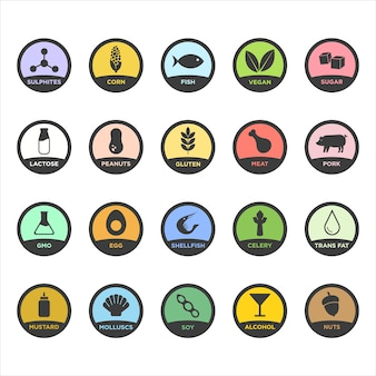 Conjunto de iconos de alimentos de alérgenos