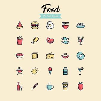 Conjunto de iconos de alimentos estilos de esquema rellenos