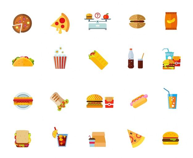 Conjunto de iconos de alimentos grasos