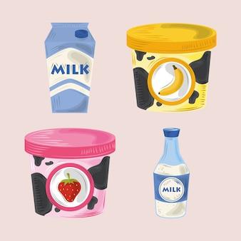 Conjunto de iconos de alimentos, yogur de fresa y yogur de plátano, botella de leche