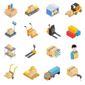 Conjunto de iconos de almacenamiento logístico de almacén