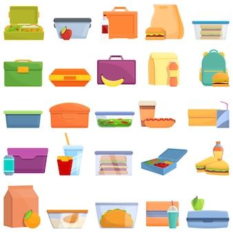 Conjunto de iconos de almuerzo. iconos de almuerzo