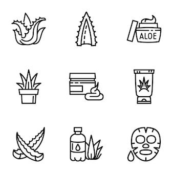 Conjunto de iconos de aloe, estilo de contorno