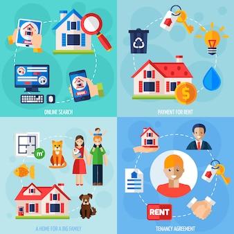 Conjunto de iconos de alquiler y arrendamiento
