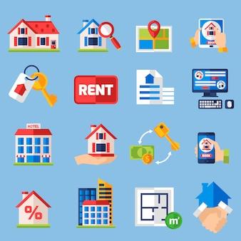Conjunto de iconos de alquiler y tenencia