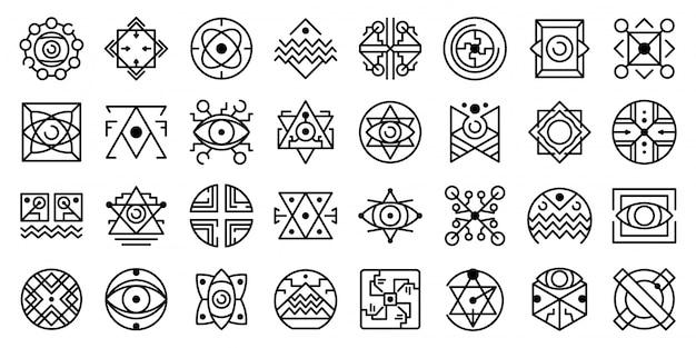 Conjunto de iconos de alquimia, estilo de contorno