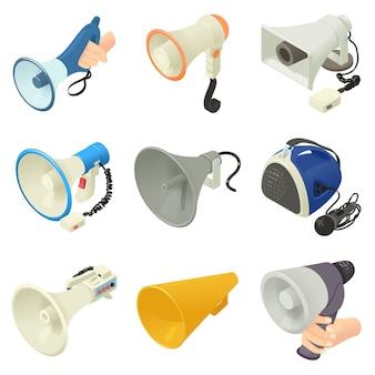 Conjunto de iconos de altavoz megáfono. ilustración isométrica de iconos de vector de logo de 16 megáfonos con altavoz y alcohol para web