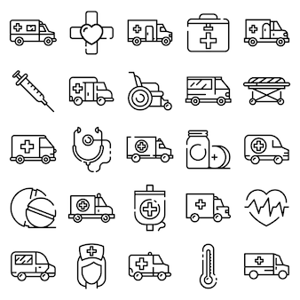 Conjunto de iconos de ambulancia, estilo de contorno