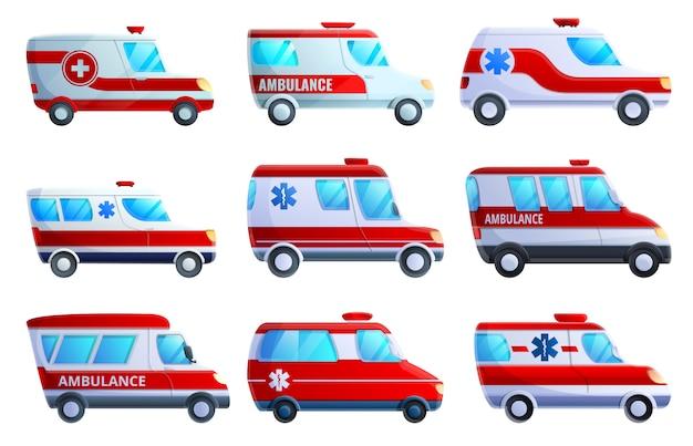 Conjunto de iconos de ambulancia, estilo de dibujos animados